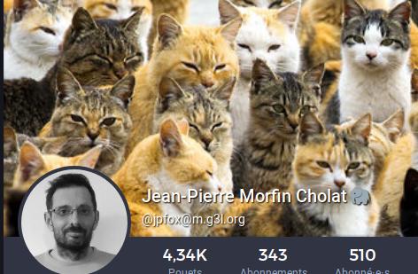 image du profil mastodon de JP Morfin, une meute de chats en arrière-plan de sa photo noir et blanc en médaillon