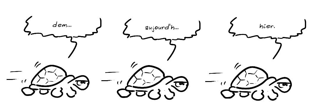 Une tortue avance : demain... aujourd'h... hier.