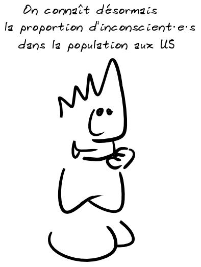 Un personnage remarque, sarcastique : on connaît désormais la proportion d'inconscient·e·s dans la population aux US