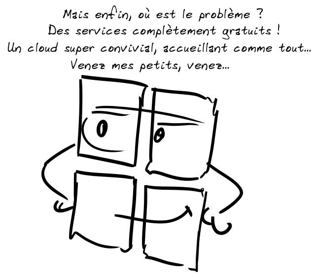 Le logo M$ : Mais enfin, où est le problème ? Des services complètement gratuits ! Un cloud super convivial, accueillant comme tout... Venez mes petits, venez...
