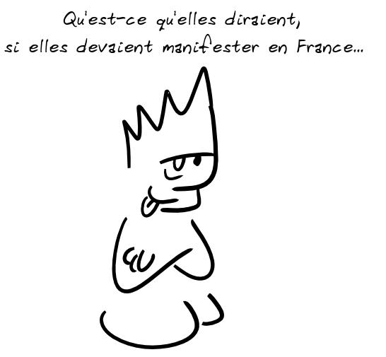 Un personnage commente : qu'est-ce qu'elles diraient, si elles devaient manifester en France...