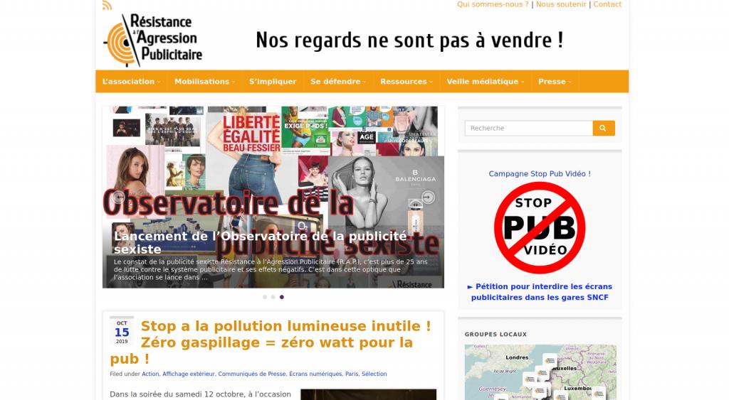 Site web de Résistance à l'Agression Publicitaire