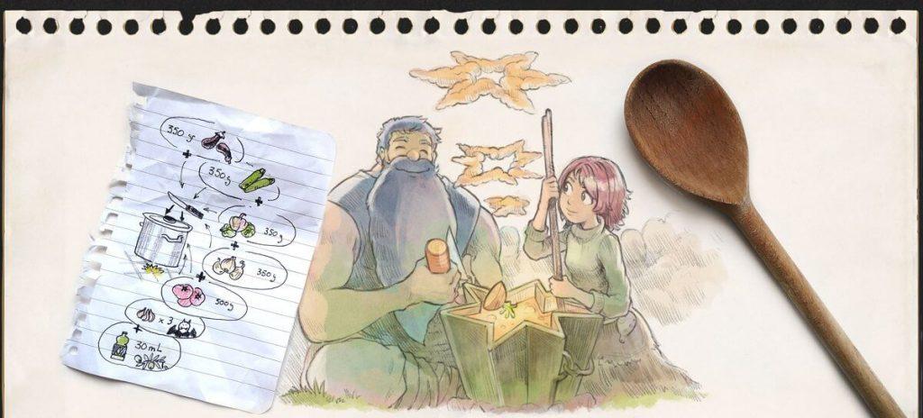 un grand barbu et une jeune fille préparent une soupe dont les ingrédients figurent sur une page de bloc au premier plan de l'image.