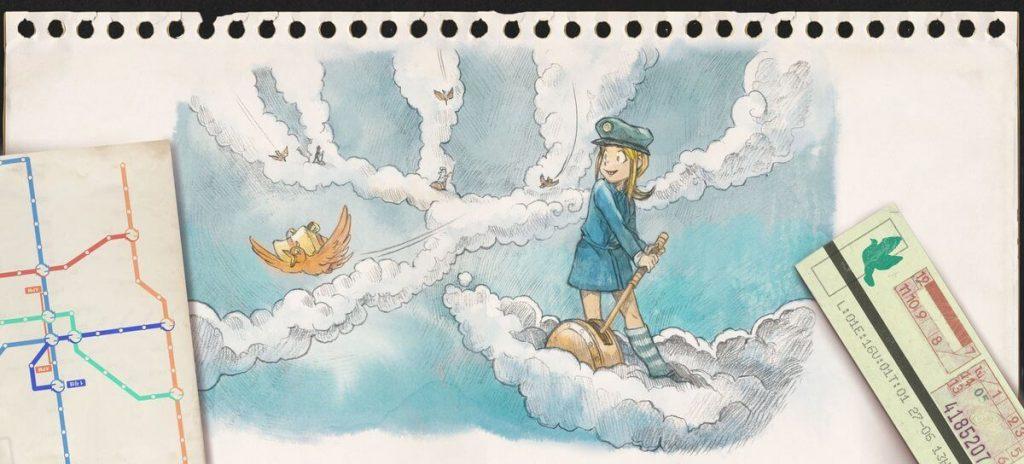 jeune fille qui déclenche un aiguillage dans le ciel entre des traînées de nuages