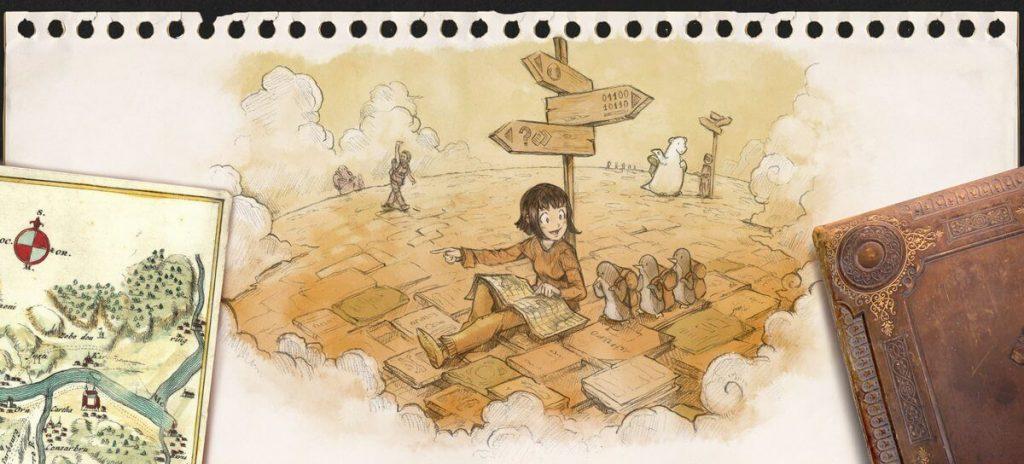 Illustration de David Revoy - paysage onirique. une jeune fille au pied d'un poteau indicateur avec plusieurs directions indique l'une de ces directions à un groupe de trois pingouins randonneurs. En arrière-plan, d'autres trajets et promeneurs.