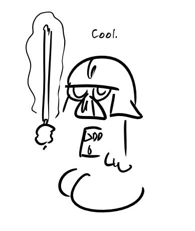 Darth Vader, un sabre laser à la main : Cool.