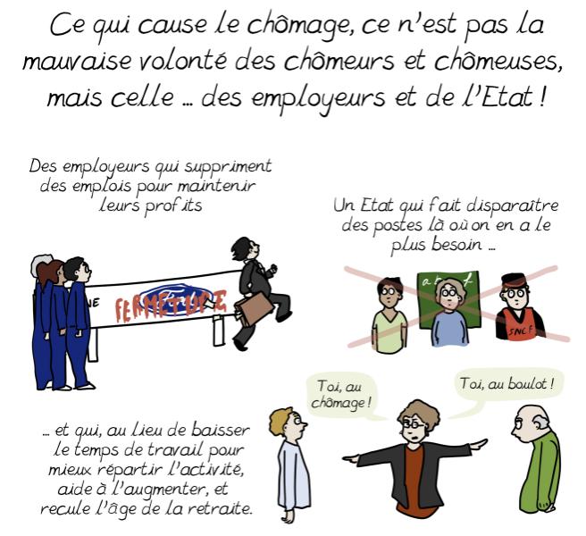 Extrait de la BD d'Emma : ce qui cause le chômage, ce n'est pas la mauvaise volonté des chômeurs et des chômeuses, mais celle des employeurs et de l'État