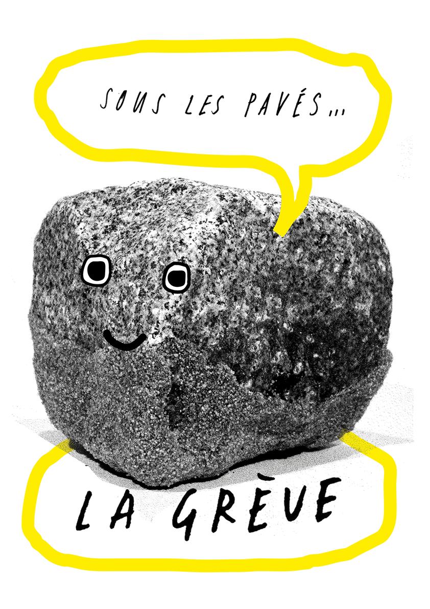 Un exemple de visuel que l'on peut télécharger sur le site formesdesluttes.org : un pavé avec des yeux et une bouche dessinés dessus : sous les pavés - la grève (par Anne-Marie Kallaraikal)