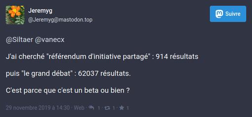 """un internaute a testé l'extension pour comparer le nombre de résultats de recherche pour """"référendum ADP"""" et """"le grand débat"""" (le deuxième l'emporte largement."""
