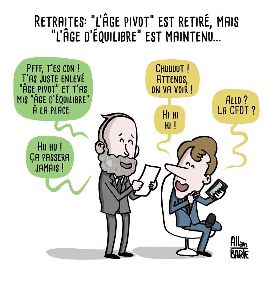 Macron et Philippe se marrent de leur bonne blague d'avoir remplacé âge pivot par âge d'équilibre