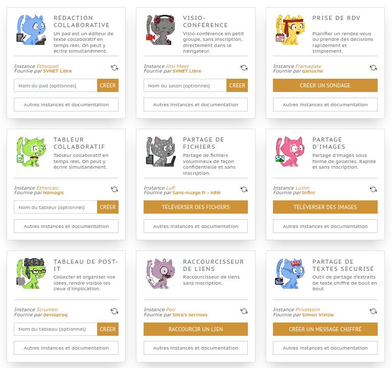 Entraide.chatons.org, une page pour trouver de nombreux services pratiques, éthiques et décentralisés.
