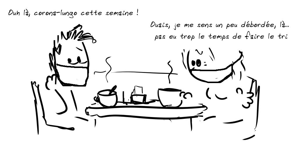 Deux personnages prennent le café. Le personnage de gauche dit : Ouh là, corona-lungo cette semaine ! - la personne de droite répond : Ouais, je me sens un peu débordée, là... pas eu trop le temps de faire le tri