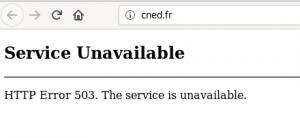Copie d'écran du site du CNED, montrant un message d'erreur