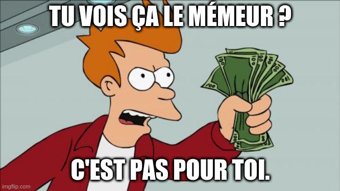 Fry de Futurama tendant une liasse de billets et disant «Tu vois ça le mémeur? C'est pas pour toi.»