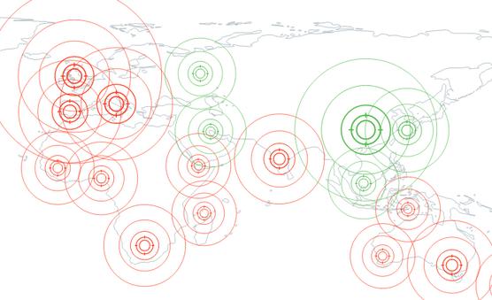 silhouettes de continents avec des zones ciblées en cercles concentriques rouges et vert suggérant l'étendue de la pandémie selon les zones géographiques