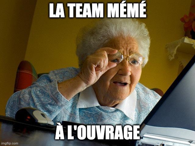 Photo d'une grand-mère regardant un écran d'ordinateur, avec un texte superposé : « la team mémé à l'ouvrage»