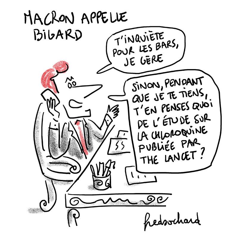 """Marcon appelle Bigard et lui demande ce qu'il pense de la chloroquine après l'avoir rassuré sur les bars """"je gère"""""""