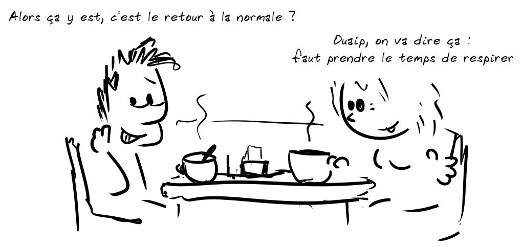 Deux personnages prennent le café. Le personnage de gauche dit : ALors ça y est, c'est le retour à la normale ? - la personne de droite répond : Ouaip, on va dire ça : faut prendre le temps de respirer
