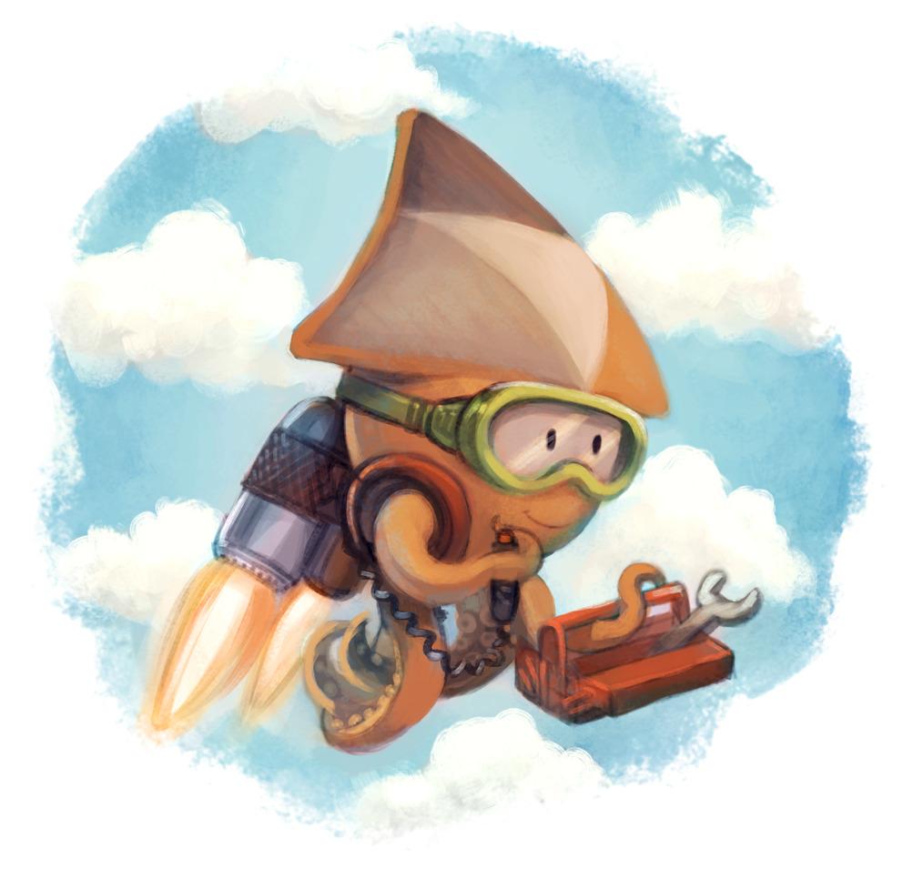 dessin représentant Sepia, la mascotte de peertube, propulsée dans l'espace par des mini-réacteurs dans le dos, la créature souriante tient dans un tentacule une boîte à outils.