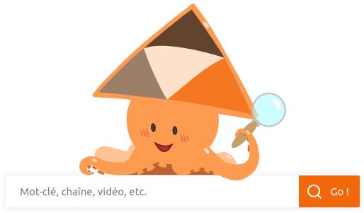 la mascotte Sepia qui promeut SepiaSearch avec une loupe et un chant de recherche