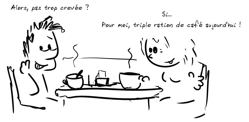 Deux personnages prennent le café. Le personnage de gauche dit : Alors, pas trop crevée ? - la personne de droite répond : Si... Pour moi, triple ration de café aujourd'hui !