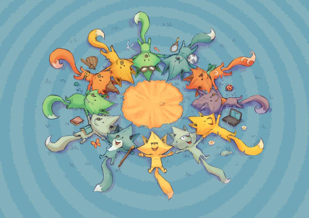 chatons multiciolores qui se tiennet la patte, forment un cercle, vu de haut, à la manière des ballets nautiques d'Esther Williams dans les films hollywoodiens