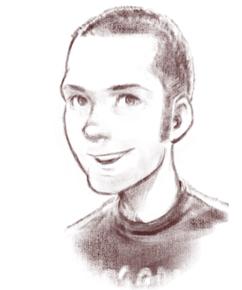 portrait au crayon de Kyle Rankin, souriant, de trois-quarts