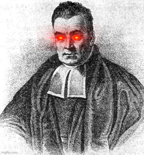 Thomas Bayes avec des yeux rouges (façon yeux laser)