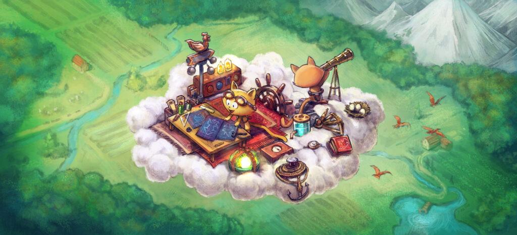 circulant sur un nuage au-dessus d'un paysage verdoyant, deux chatons en expédition avec tout un bric-à-brac