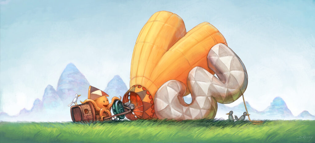 Sepia la mascotte dans une nacelle de ballon qui pour l'instant n'a pas quitté l'herbe. Le ballon est en forme de V3 (allusion à la version 3 de peertube à venir)