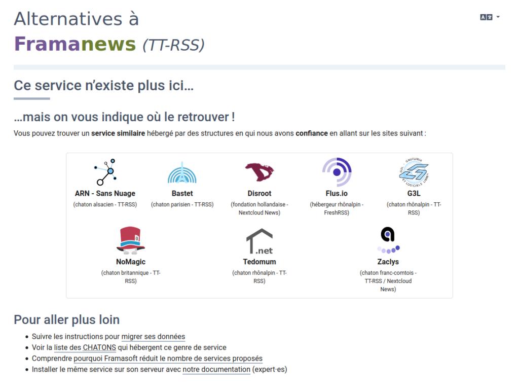 capture d'écran de divers hébergeurs ou services alternatifs qui proposent des lecteurs de flux rss