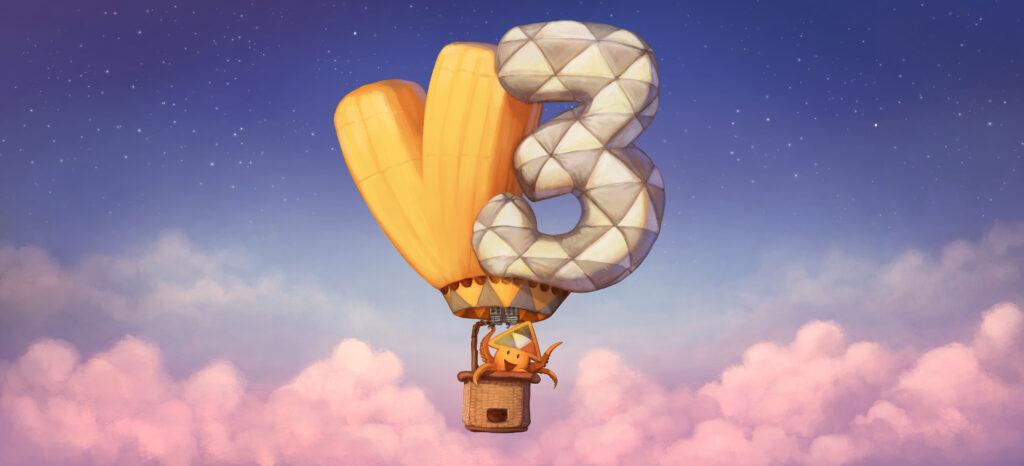 sur ciel bleu et au-dessus d'une mer de nuages roses s'élève le dirigeable de peertube. Les vballons adoptent la forme d'un grand V3 par référence à la troisième version du logiciel. dans la nacelle, Sepia la mascotte agite doucement un tentacule comme pour nous faire bonjour
