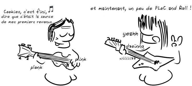 """deux guitaristes : l'un acoustoique à gauche chante : cookies c'est fini, dire que c'était la source de mes premiers revenus… (sur l'air de Capri c'est fini). L'autre à droite, guitare électrique dit : """"et maintenant un peu de Floc and roll""""."""