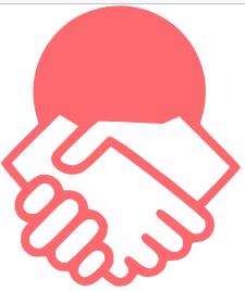 logo du projet Contribulle : poignée de main sur fond de rond rouge